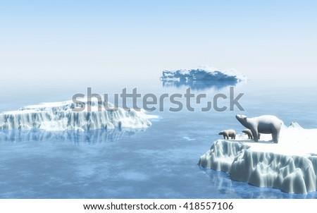 Polar bears on the iceberg 3d rendering  - stock photo