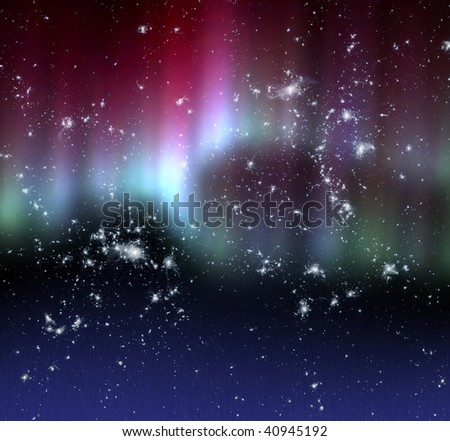 Polar glow over dark starry sky - stock photo
