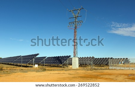 polar panel system at desert  - stock photo