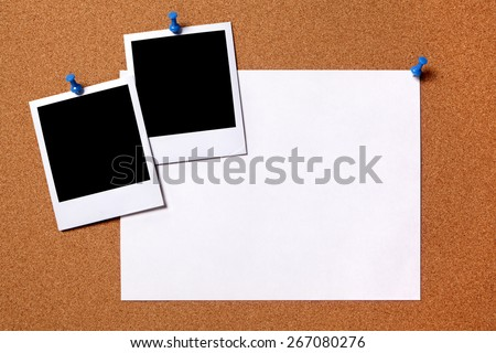 Polaroid frame, instant photo print, poster paper, cork background - stock photo