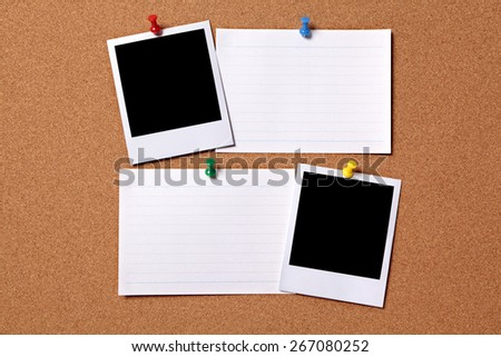 Polaroid frame, photo print, index card, cork background - stock photo