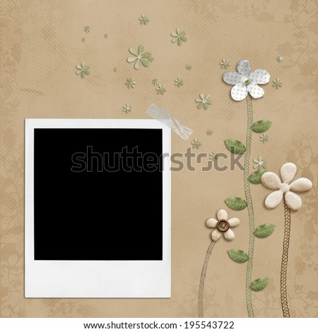 Polaroid photo frame background - stock photo