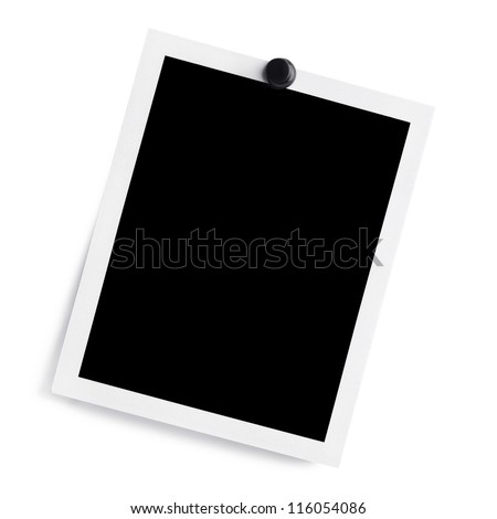Polaroid Photo With Black Thumb Tack. Clipping Path Included - stock photo