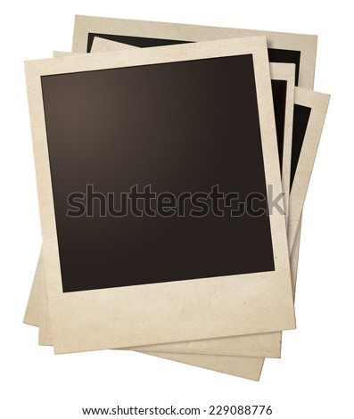 polaroid retro photo frames stack isolated on white - stock photo
