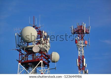 pole antennas - stock photo