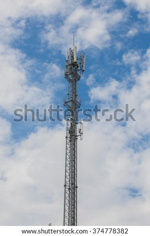 Pole for distributing signals to communicate a sky background.