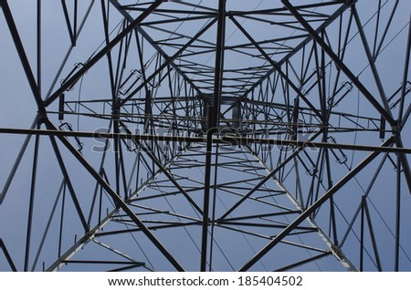 pole of high tension on sky background