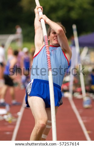 pole vault in track and field - stock photo