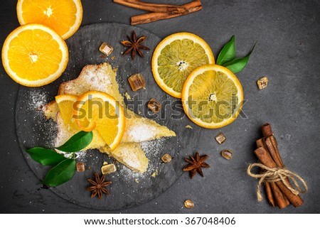 Polenta, corn and lemon butter cake on a  grunge stone table. Selective focus, top view - stock photo
