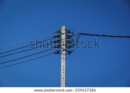 Poles are many power lines - stock photo