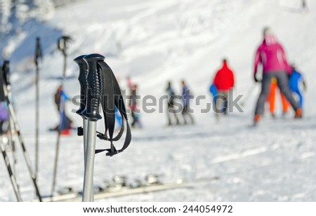 poles for skiing - stock photo