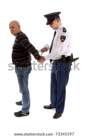 police agent is making a arrest over white background - stock photo