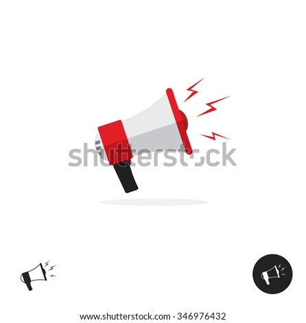 Police bullhorn logo flat icon isolated on white background. Police megaphone horn equipment tool design ribbon. Shouting bullhorn illustration with sound lightning waves in red color, protest image - stock photo