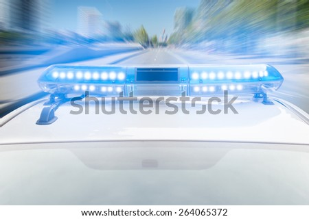police car at high speed - stock photo
