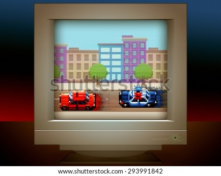 police car chase pixel art game retro monitor screen illustration - stock photo