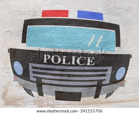 police car illustration on wood grain texture