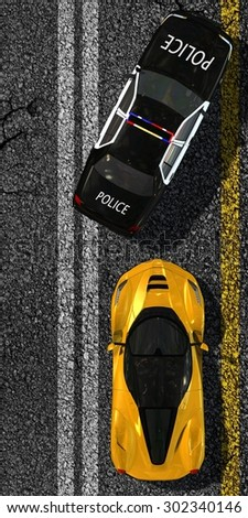 Police car stops sports car on street - top view - stock photo