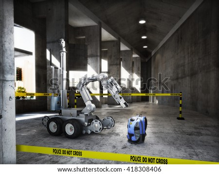 Police controlled bomb squad robot inspecting a suspicious backpack item inside a building interior.3d rendering.  - stock photo