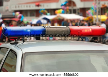 Police cop officer law emergency service car siren - stock photo