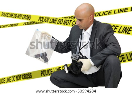 Police CSI investigator with a camera holding a bag with a gun - stock photo