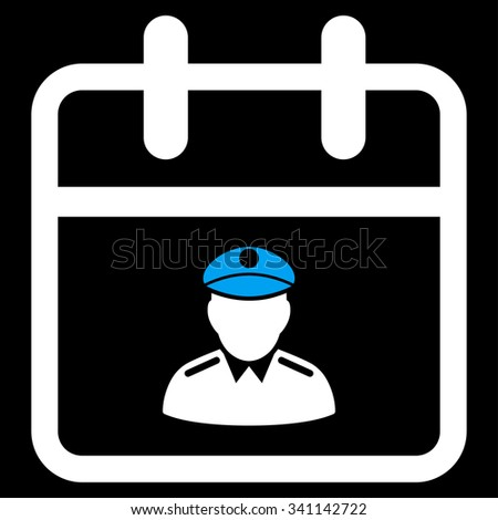 Police Day glyph icon. Style is bicolor flat symbol, blue and white colors, rounded angles, black background. - stock photo