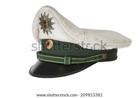 police hat, against a white background of the German police officer  - stock photo