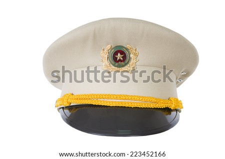 police hat, against a white background of the Vietnam police officer  - stock photo