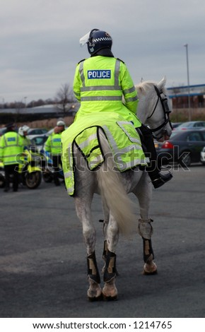 Police Horse and rider with other police officers in the background. - stock photo