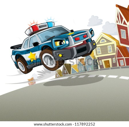 Police in the action - illustration for the children - stock photo