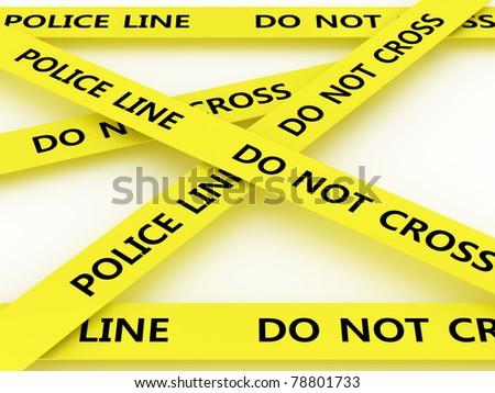 Police line do not cross. 3D - stock photo