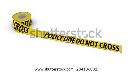 Police Line Do Not Cross Tape Roll unrolled across white floor - stock photo