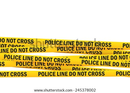 Police Line Do Not Cross Yellow Headband Tape isolated on white Background with Clipping PAth - stock photo