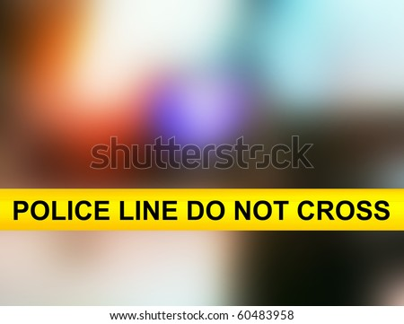 Police line do not cross yellow tape - stock photo