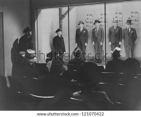 Police line up - stock photo