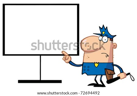 Police Man Pointing To A Blank Sign - stock photo