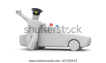 Police man with car - stock photo