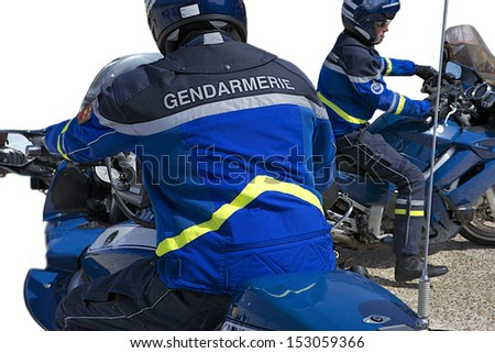 Police motorcycles France - stock photo