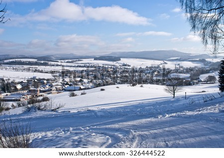 Police nad Metuj��� town during the winter, Czech Republic - stock photo