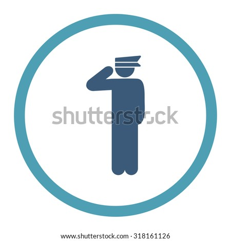Police officer glyph icon. This rounded flat symbol is drawn with cyan and blue colors on a white background.