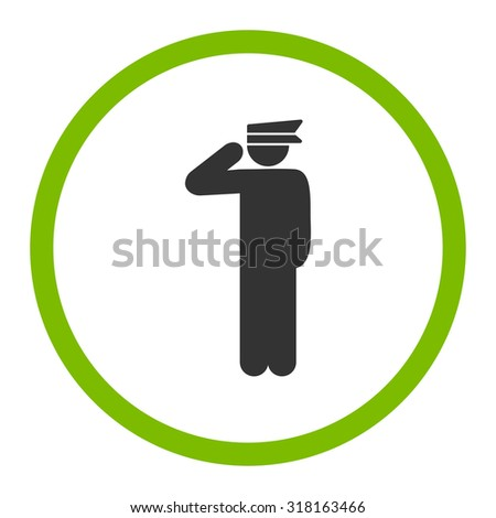 Police officer glyph icon. This rounded flat symbol is drawn with eco green and gray colors on a white background.