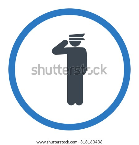 Police officer glyph icon. This rounded flat symbol is drawn with smooth blue colors on a white background.