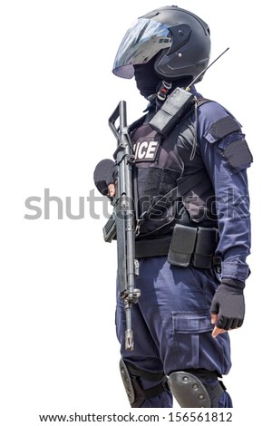 Police officer is holding rifle on white background  - stock photo