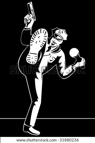 Police officer with flashlight and gun  kicking at you - stock photo
