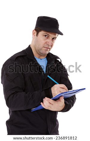 Police officer write a ticket isolated on white background - stock photo