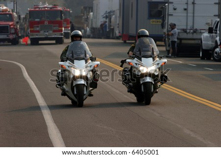 police on motorcycles at the Santiago Canyon Staging area - stock photo