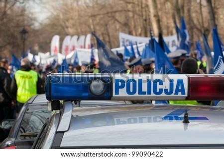 Police protest Warsaw, Poland, December 2, 2009. - stock photo