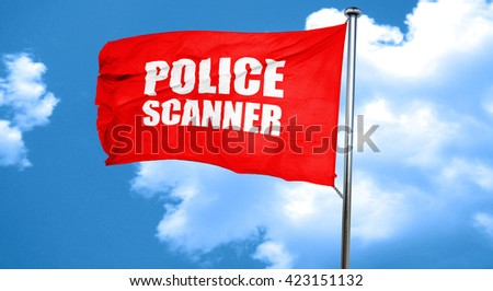 police scanner, 3D rendering, a red waving flag - stock photo