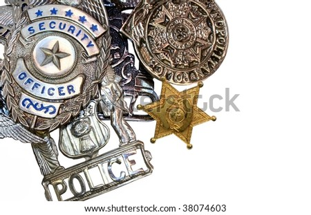 Police Shields - stock photo