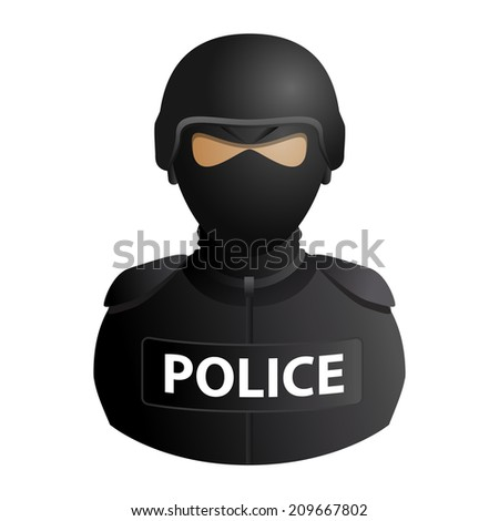 Police special forces avatar in a mask with glasses icon isolated on white background. illustration - stock photo