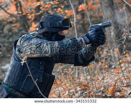 Police spetial forces,filtered and under exposed photo - stock photo